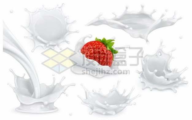 六款牛奶飞溅效果和草莓落入牛奶液体效果823074图片免抠矢量素材