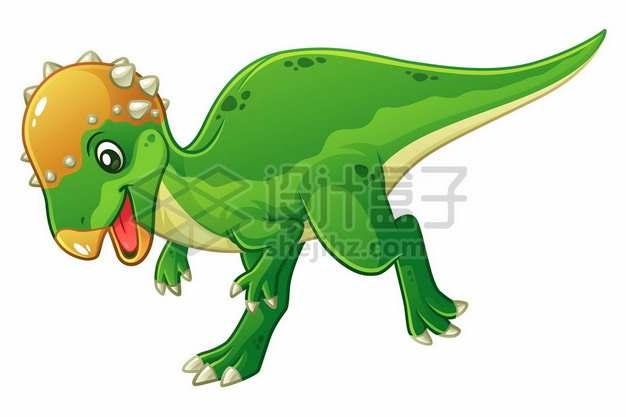 一只可爱的绿色卡通肿头龙厚头龙灭绝恐龙385394图片免抠矢量素材