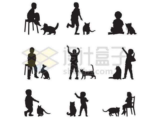 9款儿童和猫咪宠物猫玩耍剪影392466eps矢量图片素材