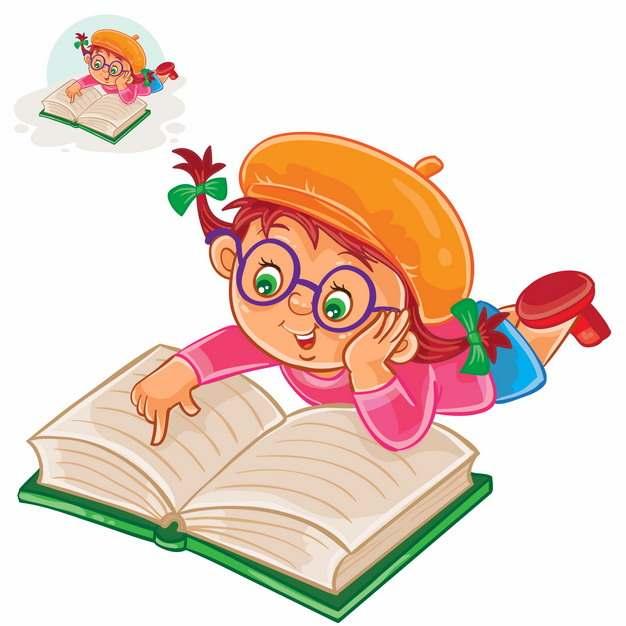 趴着看书读书的卡通小女孩插画398703图片素材