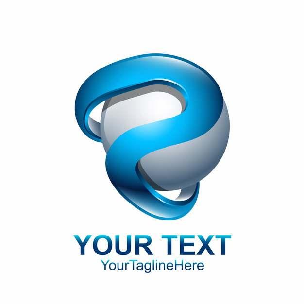 创意字母P蓝色科技风格球形LOGO设计元素631918图片免抠素材
