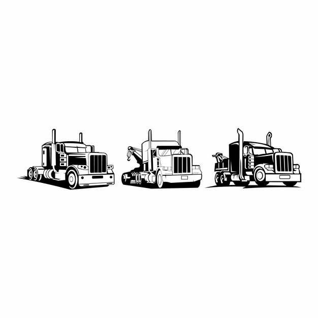 三款卡车头手绘插画727464图片素材