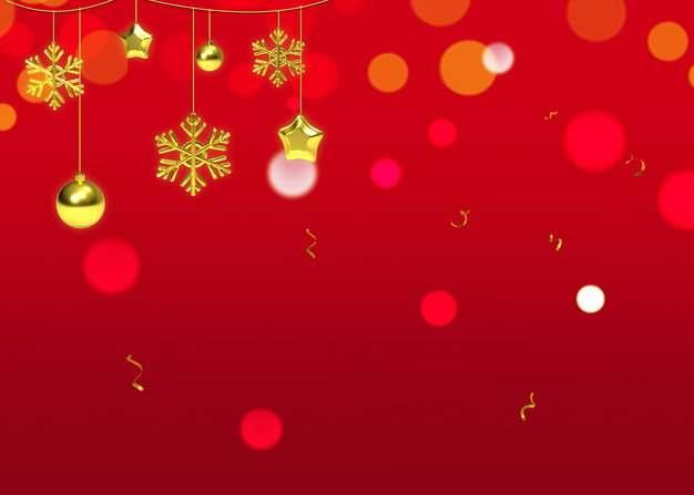 金色五角星雪花图案和圆球圣诞节装饰红色背景图片素材778413