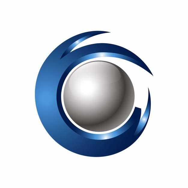 创意灰色圆球和蓝色立体圆环科技风格logo设计元素368900图片免抠素材