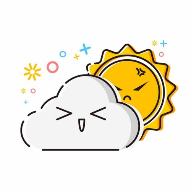 MBE风格卡通乌云和太阳多云天气预报图标605623免抠图片