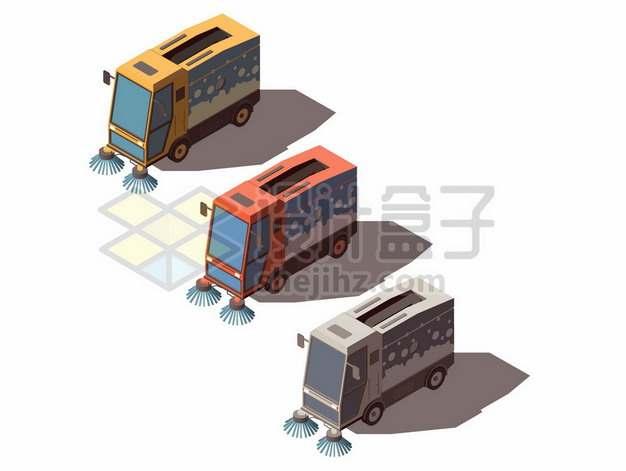 3D风格三款卡通扫地车环卫车正面图624609图片免抠矢量素材