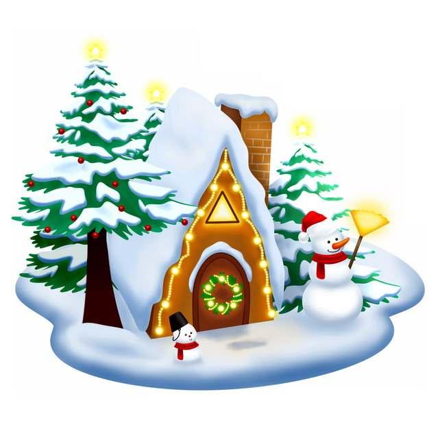 冬天圣诞节大雪积雪后的北欧房子雪松和雪人167293png图片素材