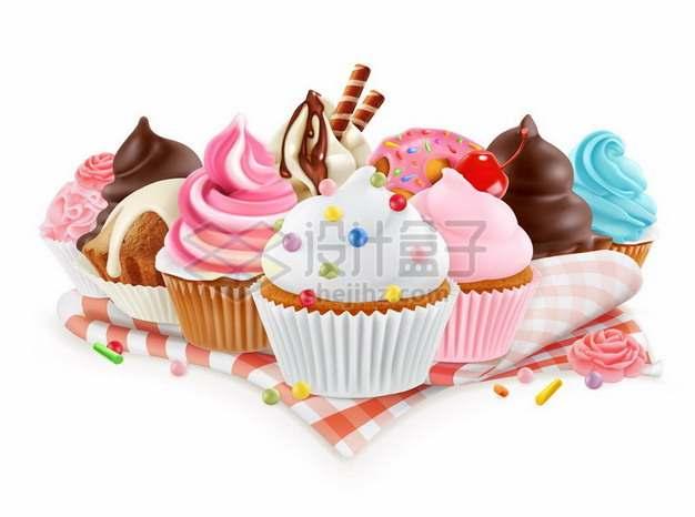 一堆美味的冰淇淋小蛋糕美食122391矢量图片免抠素材