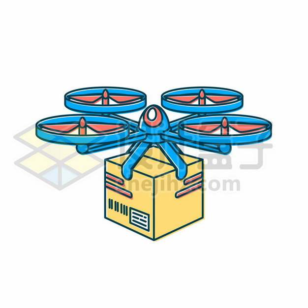 蓝色的卡通快递无人机正在送货263351图片免抠矢量素材