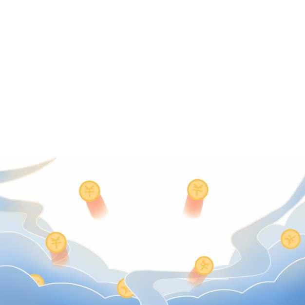 蓝色中国风云朵和金币图案906902图片素材