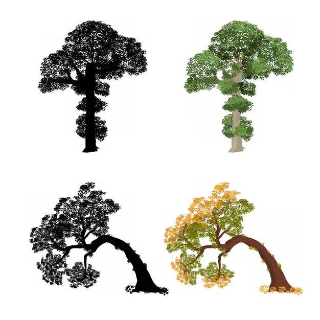 绿色参天大树和歪脖子树剪影284750png图片素材