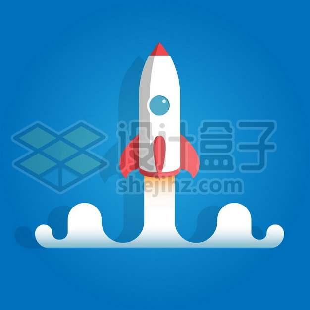 发射中的卡通白色小火箭690400图片免抠矢量素材