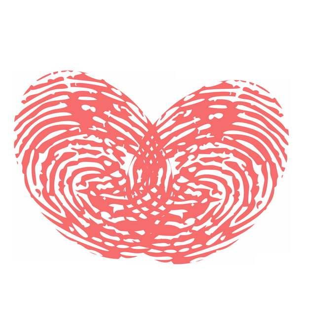 手指指纹图案组成的心形红心731714图片素材