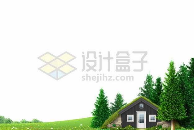 绿油油的草地和小木屋以及大树风景123187图片免抠矢量素材