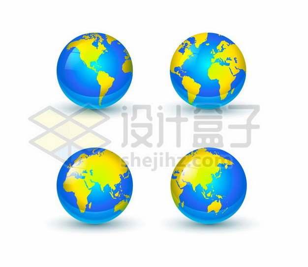 4个不同角度的蓝黄色地球模型水晶按钮365754eps矢量图片素材