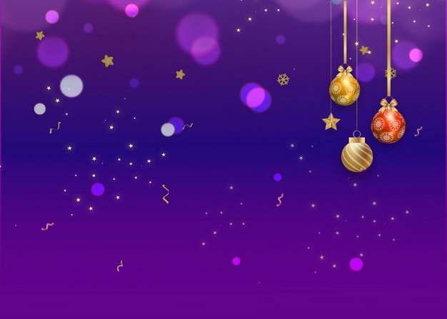 金色红色圣诞球圣诞节紫色背景图片素材893732