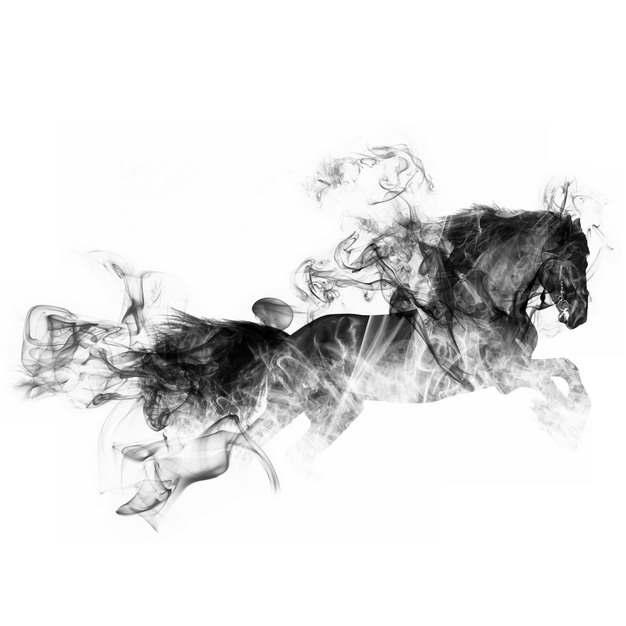 抽象奔腾的骏马烟雾效果水墨画560580PNG图片素材