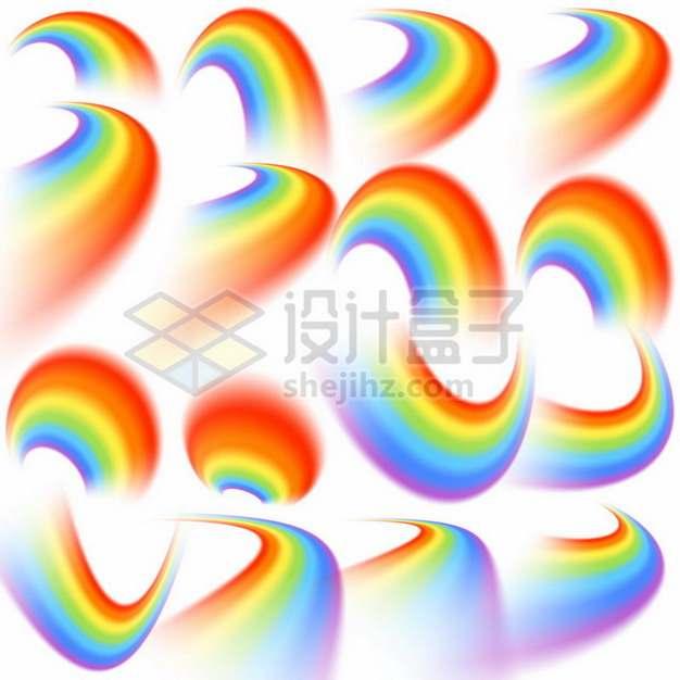 16个不同角度的七彩虹圆环图案224412矢量图片免抠素材