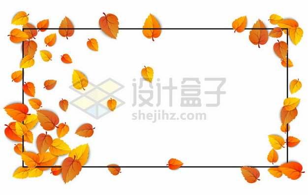 秋天飘落的黄色树叶和黑色边框355107图片免抠矢量素材