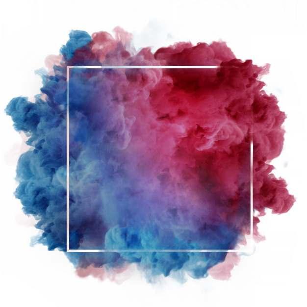 白色的方框和绚丽的蓝色红色烟雾效果561827png图片素材