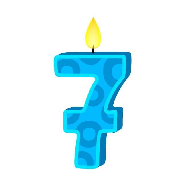 七周岁生日快乐生日蜡烛数字蜡烛834381免抠图片素材