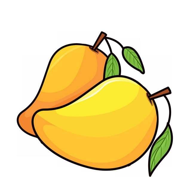 两颗卡通芒果手绘插画354571免抠图片素材