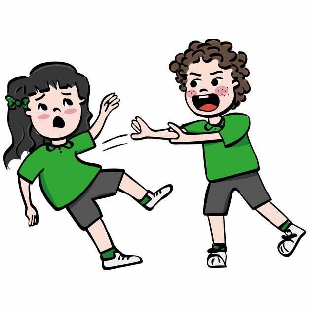 卡通男孩欺负小女孩校园霸凌校园暴力插画333989图片素材