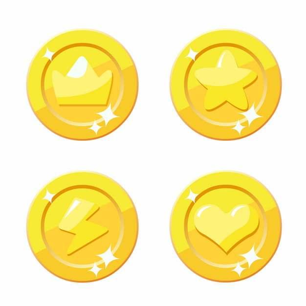 4款金灿灿的卡通黄金游戏币金币硬币钱币806793图片素材
