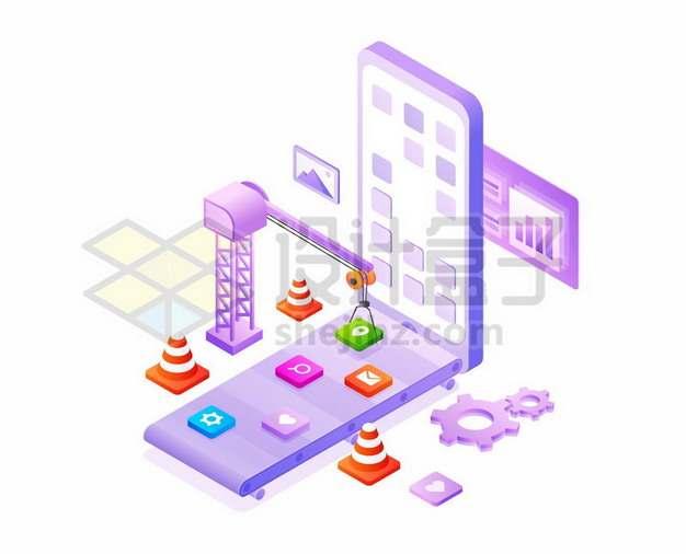 3D风格紫色手机和吊车正在装配软件象征了为新手机安装APP841446eps矢量图片素材