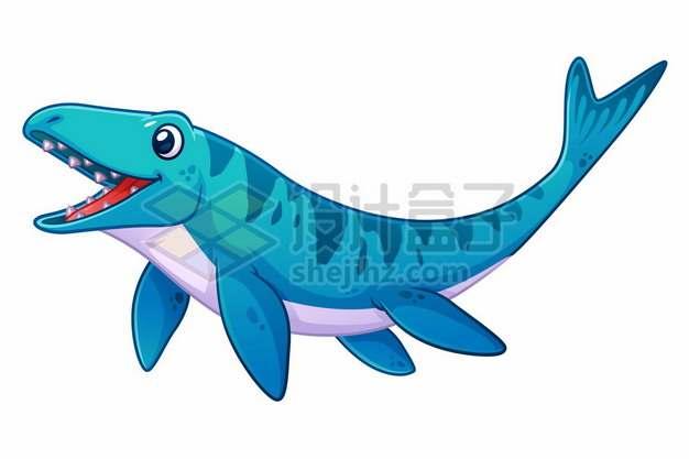 一只可爱的蓝色卡通海王龙沧龙海洋爬行动物灭绝恐龙147722图片免抠矢量素材