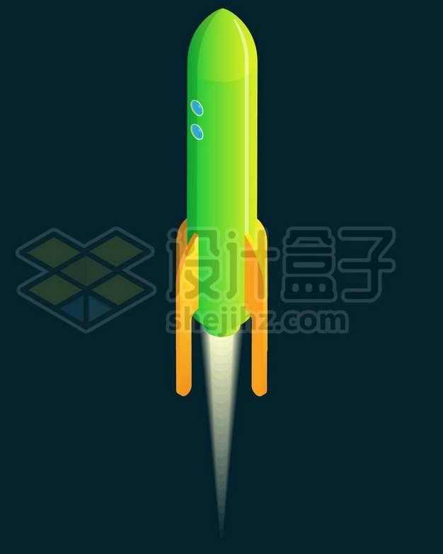 起飞阶段的绿色卡通小火箭532228图片免抠矢量素材