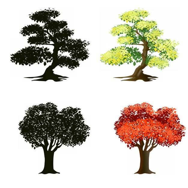 绿色大树和红色大树剪影697818png图片素材