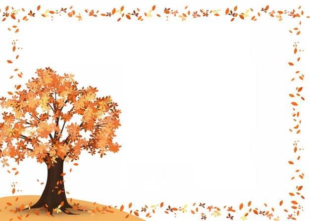 深秋时节变红的大树和红色落叶组成的边框779776png图片素材