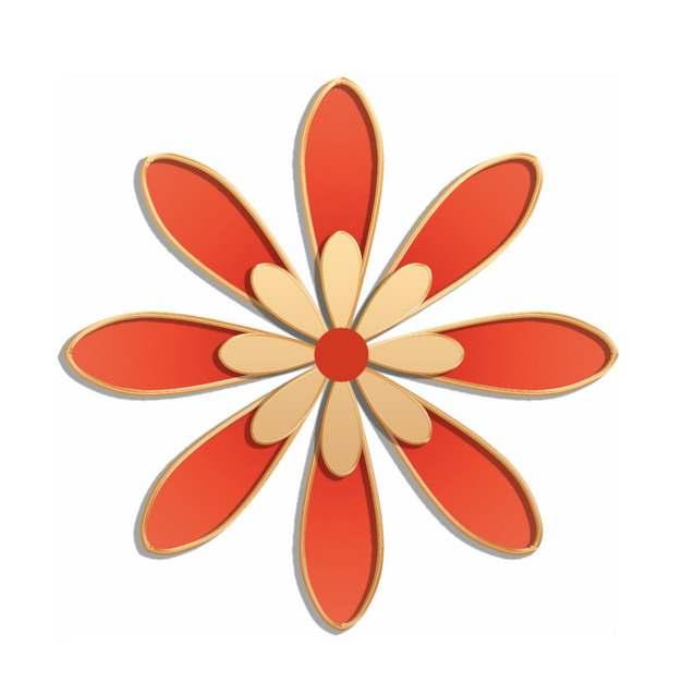 国潮金色浮雕风格红色花朵501934png图片素材