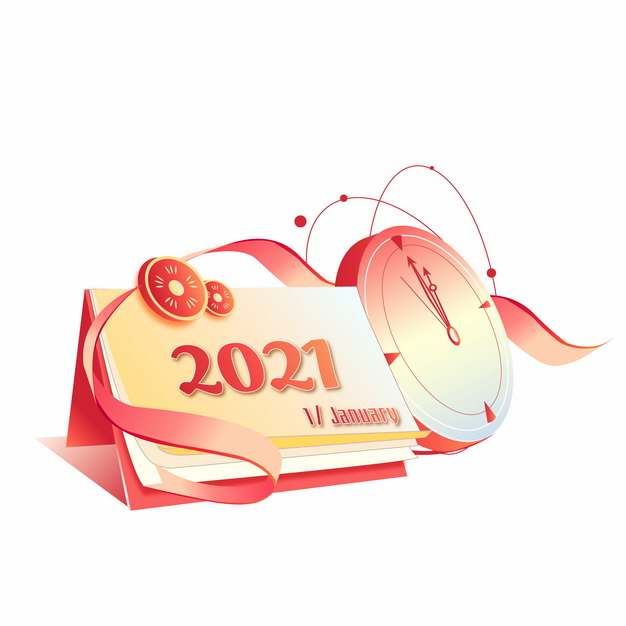 3D风格橙色2021年倒计时日历和时钟插画273229图片素材