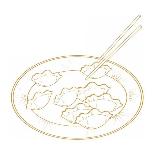 筷子夹着盘子里的水饺金色线条插画155072png图片素材