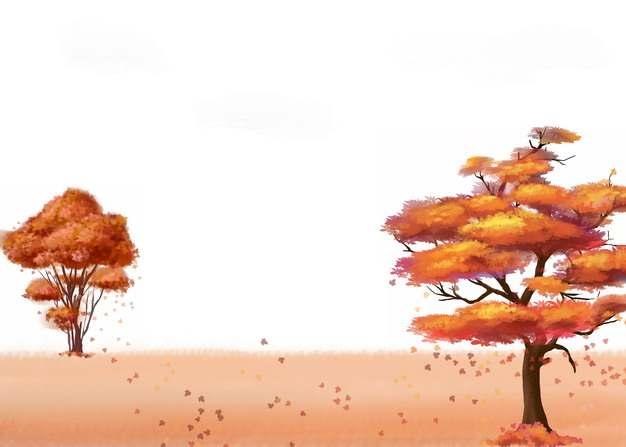 深秋时节变红的大树和草原993312png图片素材
