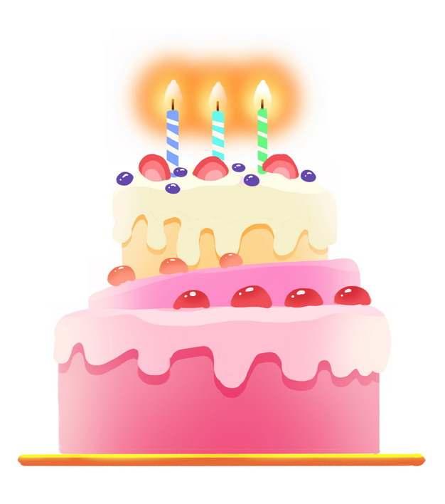 粉红色的卡通生日蛋糕和蜡烛图片免抠素材438153