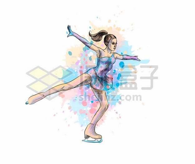 穿着滑冰鞋溜冰的美女水彩插画815809图片免抠矢量素材