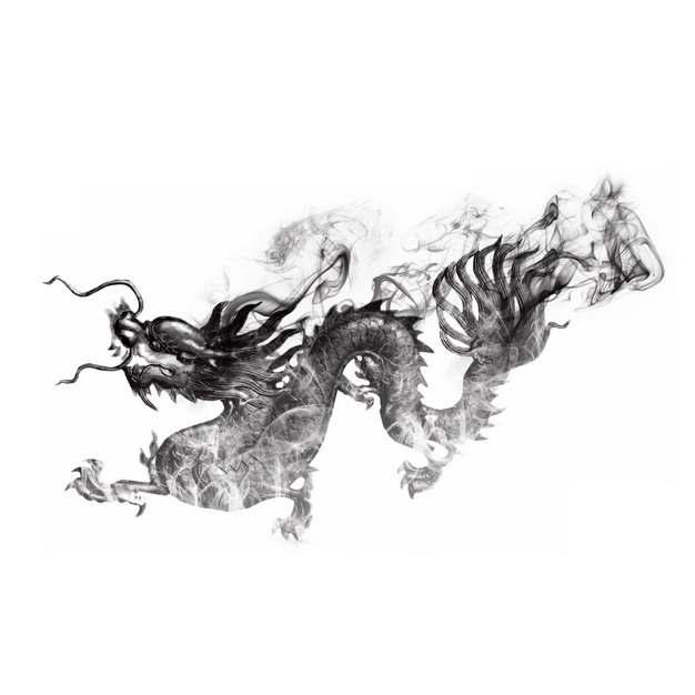 抽象的中国龙张牙舞爪的五爪龙烟雾效果水墨画426471PNG图片素材