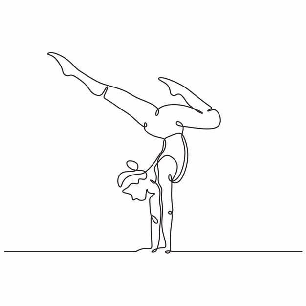 练习倒立的美女手绘线条插画667530图片素材