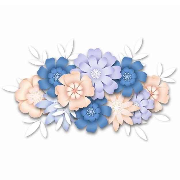 3D立体浮雕风格彩色花朵装饰731586png图片素材