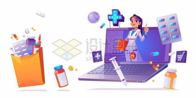 笔记本电脑上的卡通医生和各种医疗用品网上医生847622eps矢量图片素材