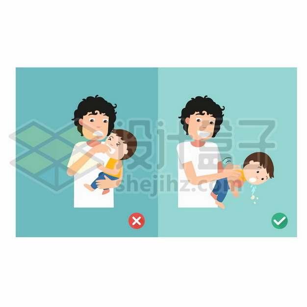 宝宝呛着了的错误和正确处理方法149860eps矢量图片素材