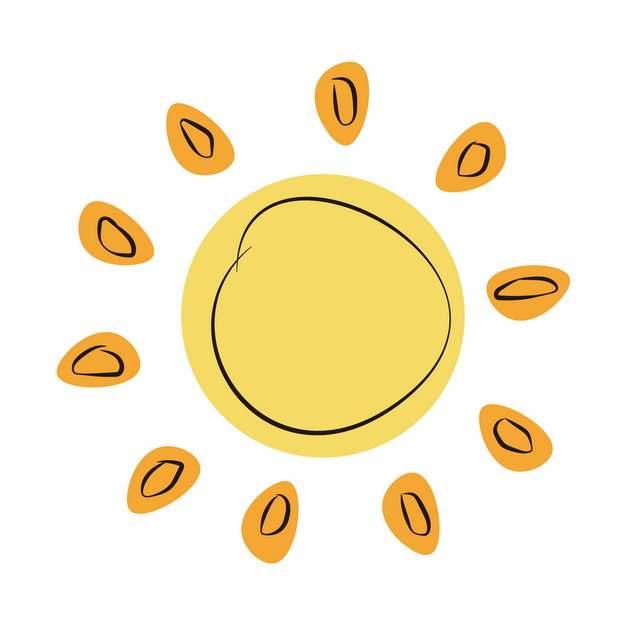 卡通手绘黄色太阳涂鸦简笔画253933免抠图片