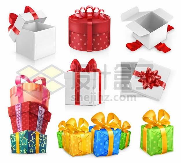 九款卡通礼物盒五颜六色的礼品盒634428图片免抠矢量素材