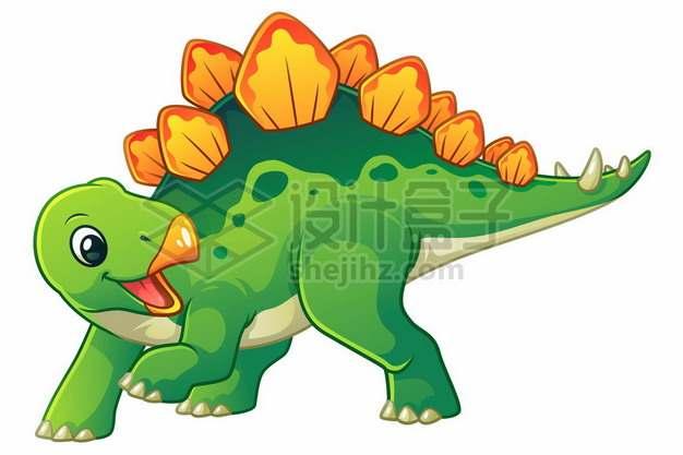 一只可爱的绿色卡通剑龙灭绝恐龙457672图片免抠矢量素材