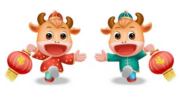 牛年拎着福字灯笼的卡通小牛410087图片素材