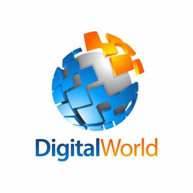 创意3D立体蓝色橙色拼图和圆球科技风格logo设计元素813619图片免抠素材