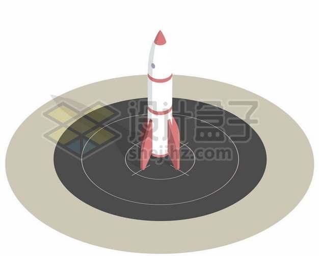 停在靶心上的卡通小火箭680812图片免抠矢量素材